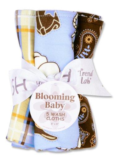 Trend Lab Set of 5 Wash Cloth, Cowboy Baby