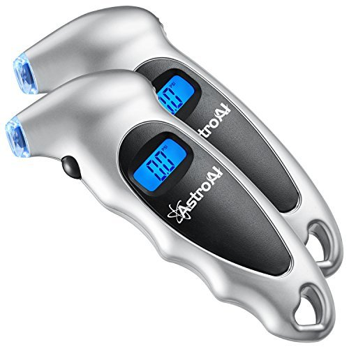 AstroAI ATG150 2 Pack Digital Tire Pressure Gauge 150 PSI 4 Settings for Car Truck Bicycle with Backlit LCD and Non-Slip Grip, Silver