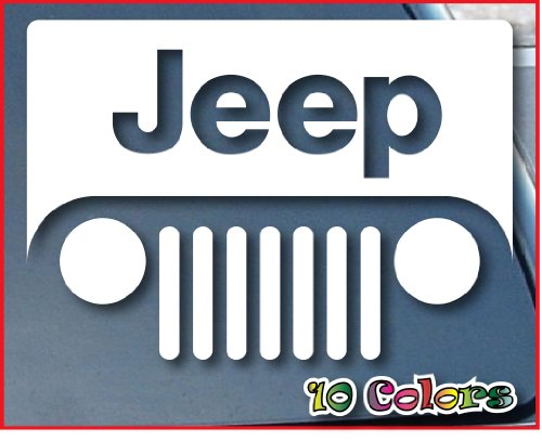 "Jeep Logo Car Window Vinyl Decal Sticker 11"" Wide (Color: White)"