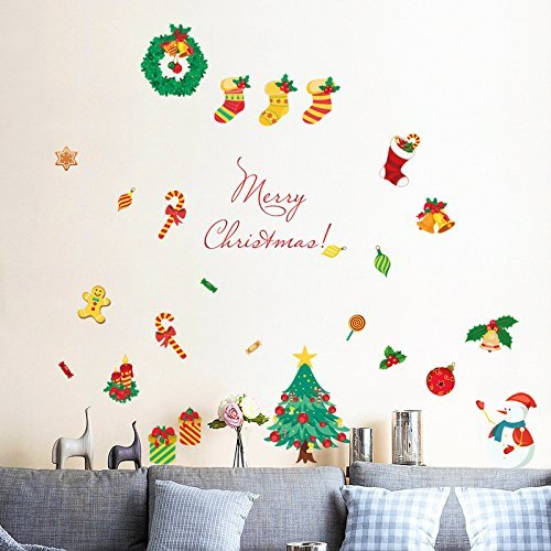 Yesfeel Christmas Wall Decals Stickers Ornaments For Living Room And Bedroom, Christmas Stockings,Santa Claus, Candy Cane, Waving Snowmen christmas wreath, Perfect Décor For Home and Shop Windows. by Yesfeel