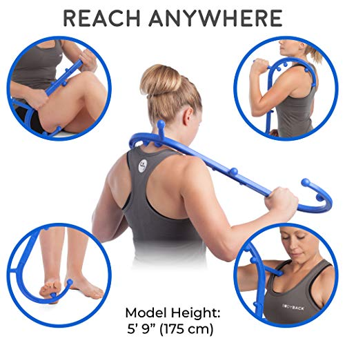 Body Back Buddy Back Massager, Handheld Massage Stick, Trigger Point Massager, Massage Cane (Blue)