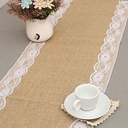 1 boyspringg Burlap Table Runners with Lace Vintage Table Cloth Rustic Natural Jute Country Wedding Party Dining Table Decoration Farmhouse Decor 12X108