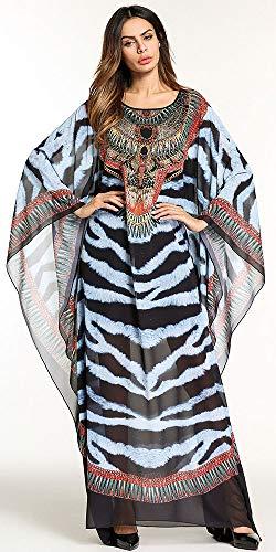 Knöchellang Wasserfall 5750schwarz Weich Lose Ababalaya O Muslimisch Damen Langarm Flügelhülse Kleid Drucken Ansatz vqwnZnzxp