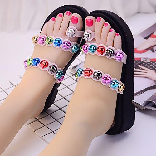 A cool de zapatillas toe remache nbsp;Kit zapatillas de 35 gruesos verano de tacón mujer zapatos moda Fankou antideslizante B ZtfqxwTFZ