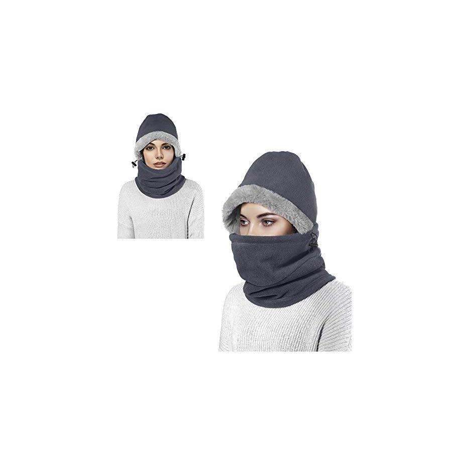 Enkarl Unisex Fleece Balaclava, Windproof Winter Outdoor Sports Face Mask Hood Headgear Neck Warmer