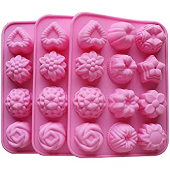 BAKER DEPOT Silicone Bakeware Mold For cake, chocolate, Jelly, Pudding, Dessert Molds, 12 Holes With Flower, Heart Shape, Set of 3