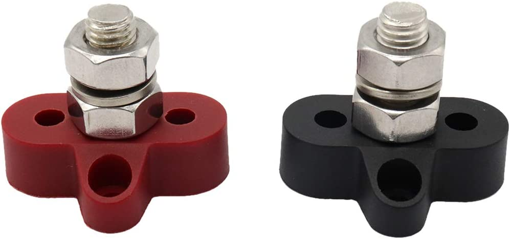 SDENSHI Pair 3//8 Junction Block Power Post Insulated Terminal Stud For Boat Marine