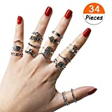 34 PCs Knuckle Ring Set Vintage Hamsa Hand Bohemian Elephant Crown Sun Moon Rhinestone Joint Rings for Girls Women Mom Mother's Day