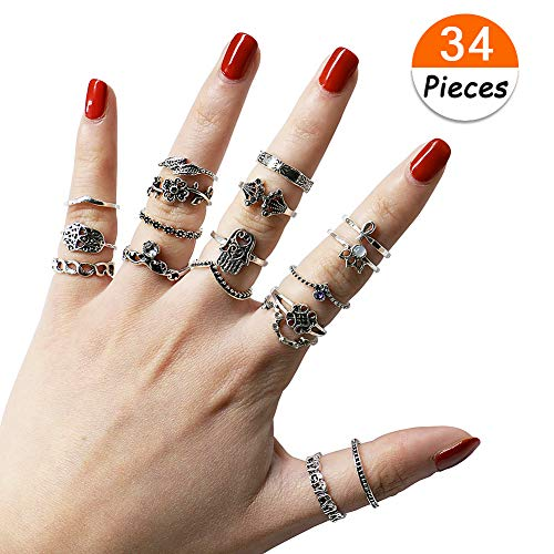 34 PCs Knuckle Ring Set Vintage Hamsa Hand Bohemian Elephant Crown Sun Moon Rhinestone Joint Rings for Girls Women Mom Mother's Day by VEMAI