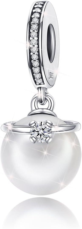 Colgante con perlas de plata de ley 925 Abalorio compatible con Pandor pulseras y collar para mujeres y niñas