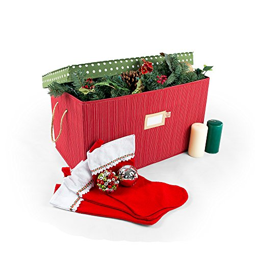 [Multi Use Christmas Decoration Storage Box] - Self Standing Container with ID Tag Holder for Easy Identification - for Garland Storage and Other Miscellaneous Decor Storage (Polka Dot)