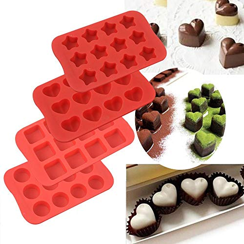 Raose Mini Silicone Baking Mold, Chocolate Molds&Candy Molds Set, Tray 4-in-1 Silicone Molds Set with 5 Pcs Measuring Spoons for Cupcakes,Muffins,Soap and Brownies by Raoes (Image #1)