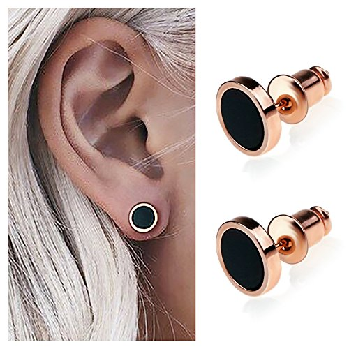 Suyi Classic Black Round Stud Earrings Simple Circle Disc Ear Studs for Women&Girls RoseGold -