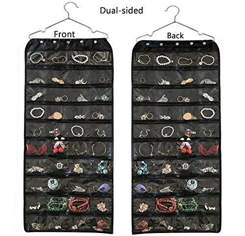 (BB Brotrade Hanging Jewelry Organizer,Accessories Organizer,Oxford 80 Pocket Organizer for Holding Jewelries (Black))