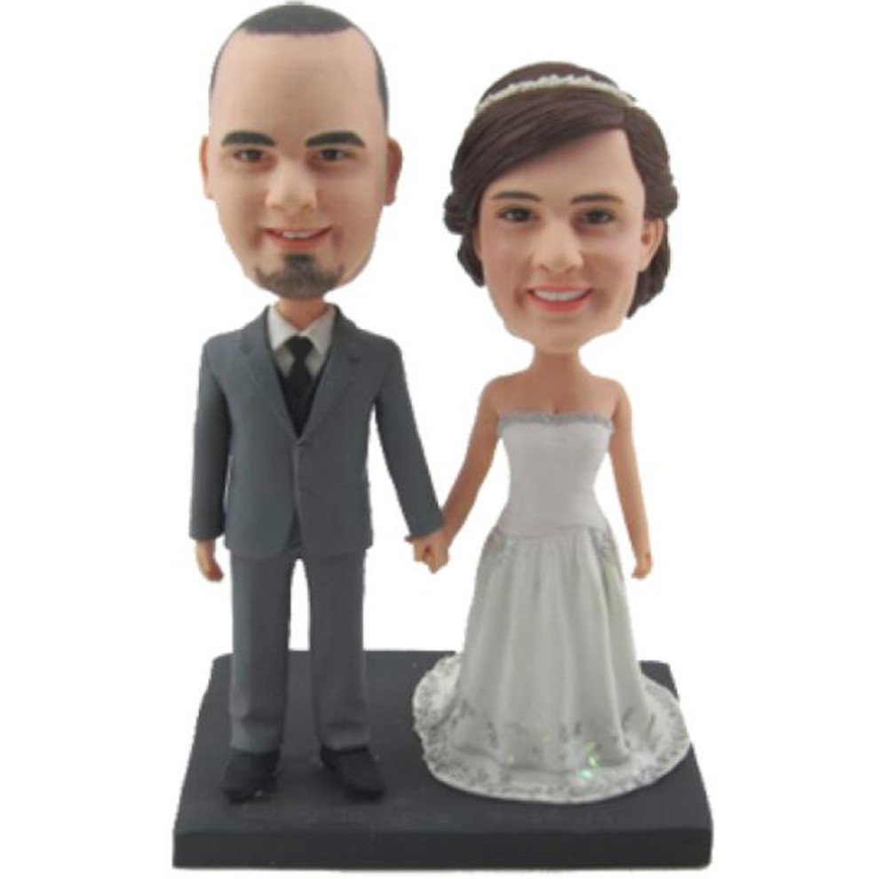 Custom Create Your Own Classic Wedding Bobble head Polymer Clay Handmade Bobbleheads Cake Toppers by MiniBobbleheads