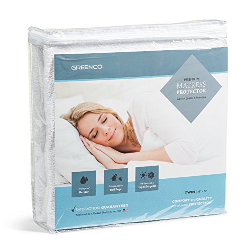 Price comparison product image Greenco Premium Hypoallergenic Waterproof Mattress Protector - Vinyl Free (Twin)