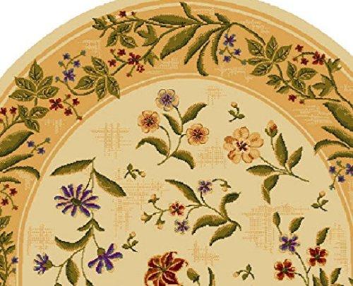 Summer Flowers Beige Oval 8 X 11 Nylon Area Rug Printed