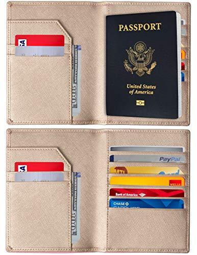 RFID Blocking Passport Holder - Genuine Leather RFID Passport Holder - Slim Passport Wallet Cover Case (Gold) (Wallet Travel Green)