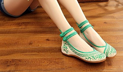 Lazutom Women Lady Embroidery Chinese Style Mary Jane Dress Party Shoes Green jwkICiI