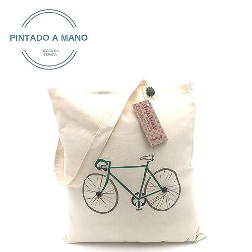 Bolso de algodón orgánico bici verde pintada a mano: Amazon ...