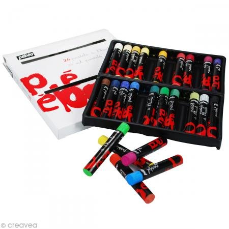 Pebeo 41787Oil Pastel Pencil Length: 67mm Shaft Diameter 10mm Cardboard Box of 24Assorted Colours (Drawing Pebeo)