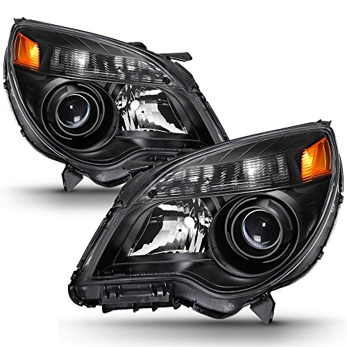 ACANII - For 2010-2015 Chevy Equinox Halogen Model Projector Black Headlights Headlamps Head Lamps Driver+Passenger Side (Equinox Headlamp)