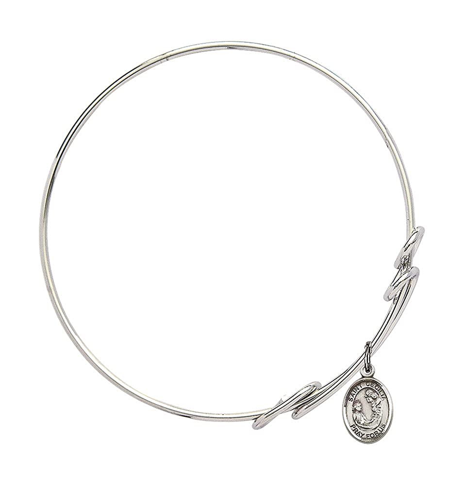 Cecilia Charm On A 8 1//2 Inch Round Double Loop Bangle Bracelet St