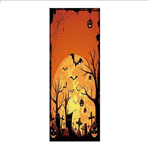 3D Decorative Film Privacy Window Film No Glue,Halloween,Grungy Graveyard Cemetery Necropolis with Bats Pumpkins Crosses Cobweb Decorative,Orange Brown Black,for Home&Office ()