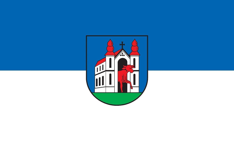 Diplomat magFlags Raum-Fahne mit modernem verchromtem Fahnenständer und Marmor-Fuß   Flagge  Ochsenhausen 90x150cm   Höhe  230cm