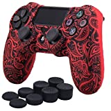 YoRHa Water Transfer Printing Flowers Silicone Cover Skin Case for Sony PS4/slim/Pro Dualshock 4 controller x 1(red) With Pro thumb grips x 8
