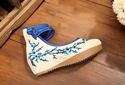 Etnico 36 Scarpe Più colore Tendine Casual Stile Forti Comodo Suola Fuxitoggo Blu Moda Lino Femminili A Dimensione Ricamate HxnZS