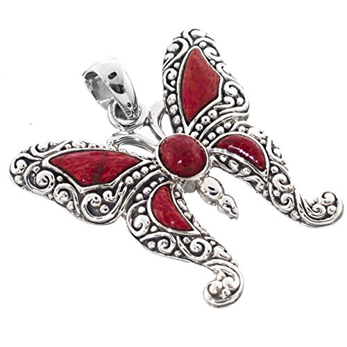 (Butterfly In Red Sponge Coral 925 Sterling Silver Pendant, 1 1/4