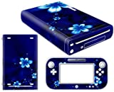 Vinyl Decal Skin Sticker Cover for WII U-blue Flowers