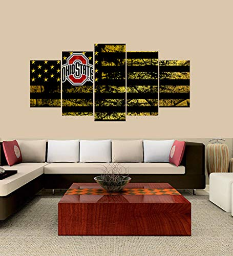 OnlineShoppingExpress [Small] Premium Quality Canvas Printed Wall Art Poster 5 Pieces / 5 Pannel Wall Decor Ohio State Buckeyes Logo Painting, Home Decor Football Sport Pictures