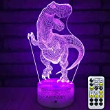 INSONJOHY Kids Night Lights Bedside Lamp 7 Colors Change Remote Control Timer 3D Night Light Kids Optical Illusion Lamps Kids Lamp As a Gift Ideas Boys Girls (Dinosaur)