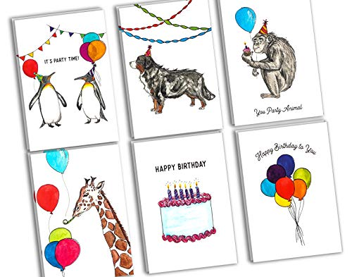 (Assorted Animal Happy Birthday Cards: 36 Pack - 4 x 6 Blank Inside Bulk Box Set with Envelopes - Watercolor Adult Kids Bday Greeting Card for Every & All Occasion:)