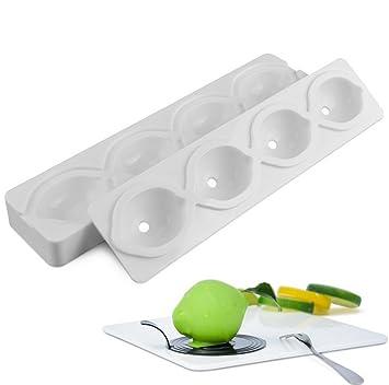 molde limon, moldes silicona 3d para postres, 4 cavidades Forma de limon, Blanco: Amazon.es: Hogar