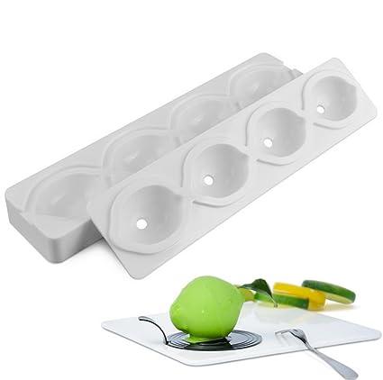 molde limon, moldes silicona 3d para postres, 4 cavidades Forma de limon, Blanco