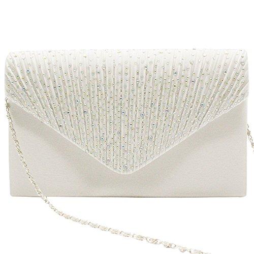 Bagsilver Handbag Purse Lady Pleated Party Wiwsi Satin Various ivory diamante Color Clutch qZxfRS