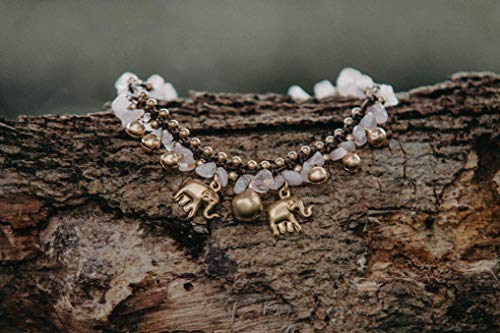 Changnoi Rose Quartz Brass Elephant Anklet Bracelet, Gypsy Anklet, Boho Anklet, Artisan Anklet for Women, Unique Gift for Her