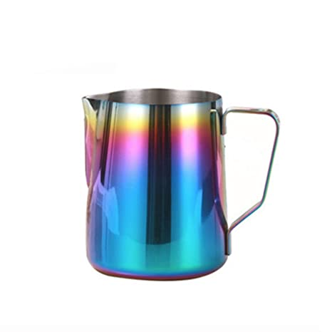 Rainbow Colorful Espresso para leche jarra de acero inoxidable