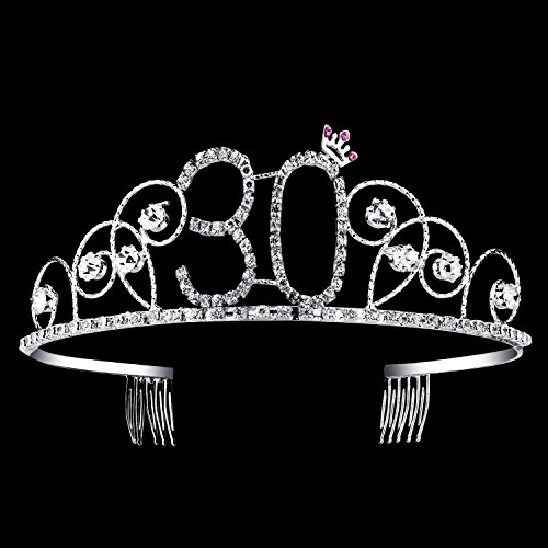 Birthday Tiaras (BABEYOND Crystal Tiara Birthday Crown Princess Crown Hair Accessories Silver Diamante Happy 30th Birthday (30 Birth))