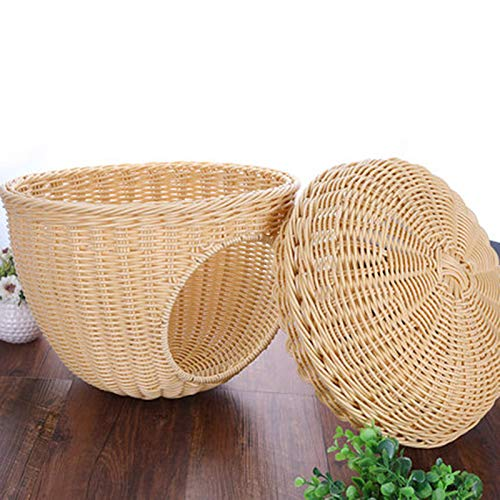 Cream color 36x36x33cm cream color 36x36x33cm ZUOZUOZUO Rattan Cat Litter Small And Medium-Sized Dog Pet Nest Summer Cat Litter Teddy Pet Bed Rattan Nest Pet Supplies Beige 36X36X33Cm