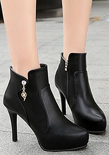Pointy Zip Ankle Toe Easemax Up Booties Stiletto Black Heeled Casual Side Women's High High Martin qFHfHE