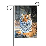 BoloHome Tiger Garden Flag Double Sided House Banner 28 x 40 inch, Decorative Yard Flag for Wedding Outdoor Decor, 100% Polyester