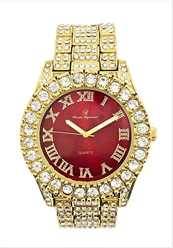 (Mens Gold Big Rocks Bezel Bloody-Red Dial with Roman Numerals Fully Iced Out Watch - Bloody Red/Gold - ST10327)
