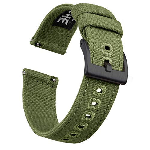 Ritche Canvas Quick Release Watch Band 18mm 20mm 22mm Replacement Watch Straps for Men Women (Army Green/Black, 22mm)