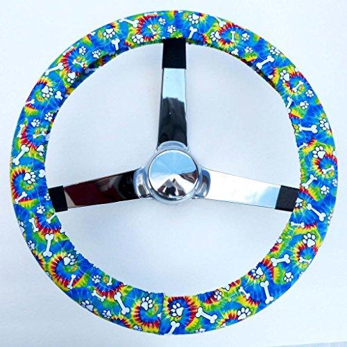 Mana Trading Handmade Steering Wheel Cover Tye Dye Puppy Bones