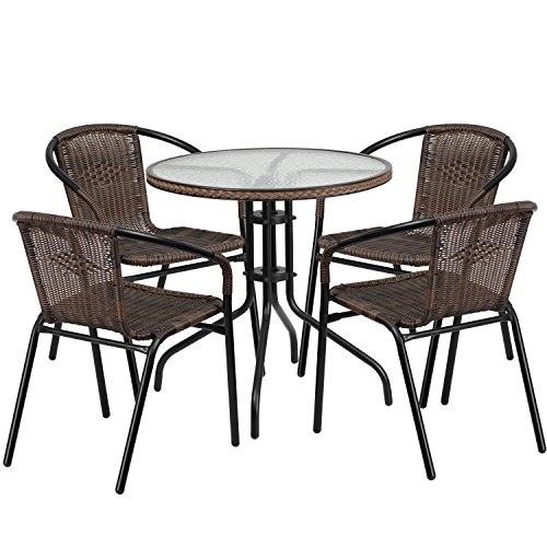 Flash Furniture 28'' Round Glass Metal Table with Dark Brown Rattan Edging and 4 Dark Brown Rattan Stack Chairs (Round Table Patio Glass)
