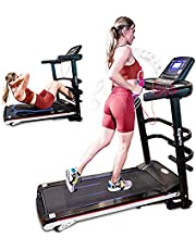 Ksports Treadmill Bundle Comprising of Electric Folding Treadmill with Auto/Manual Incline Sit Ups Rack & Ab Mat, Dumb Bells for Home Office Gym Small Spaces, Running Machine with Smart APP